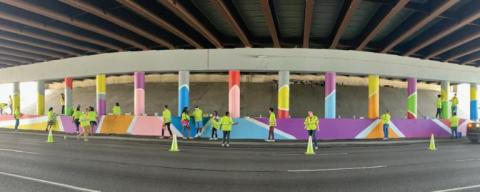 Painting Mural at Pendleton Pike Overpass