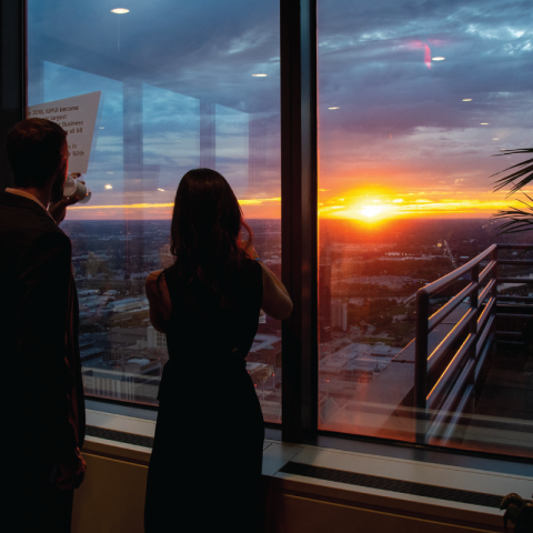 A view of the sunset over Indianapolis from the salesforce tower